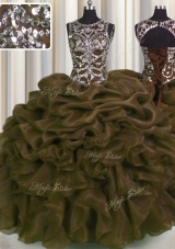 Delicate See Through Sweetheart Sleeveless Lace Up Sweet 16 Quinceanera Dress Brown Organza
