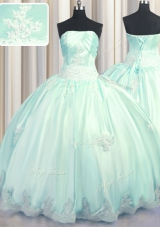 Exceptional Floor Length Apple Green Quinceanera Gown Taffeta Sleeveless Beading and Appliques