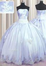 Floor Length Lavender Quinceanera Dress Taffeta Sleeveless Appliques