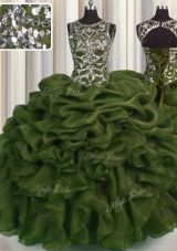 See Through Olive Green Organza Lace Up Scoop Sleeveless Floor Length Sweet 16 Quinceanera Dress Beading and Pick Ups