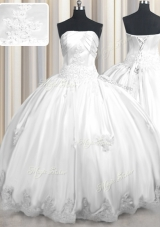 White Sleeveless Taffeta Lace Up Ball Gown Prom Dress for Military Ball and Sweet 16 and Quinceanera