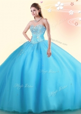 Ball Gowns Quinceanera Dresses Baby Blue Sweetheart Tulle Sleeveless Floor Length Lace Up