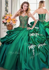 Cute Dark Green Sweetheart Neckline Beading and Appliques and Pick Ups Quinceanera Dresses Sleeveless Lace Up