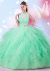 Dazzling Tulle Sleeveless Floor Length Quince Ball Gowns and Beading and Ruffles