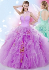Dramatic Halter Top Sleeveless Lace Up Ball Gown Prom Dress Lilac Tulle