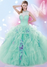 Fitting Tulle High-neck Sleeveless Lace Up Beading and Ruffles Quinceanera Gown in Apple Green