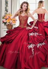 Graceful Sleeveless Floor Length Beading and Appliques and Pick Ups Lace Up Quinceanera Dress with Wine Red