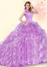 Great Backless Lilac Quinceanera Dresses Organza Brush Train Sleeveless Beading and Ruffles
