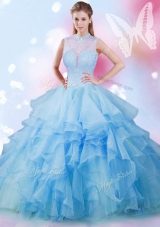 High-neck Sleeveless Sweet 16 Quinceanera Dress Floor Length Beading and Ruffles Baby Blue Tulle
