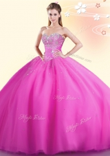 Hot Pink Quinceanera Gown Military Ball and Sweet 16 and Quinceanera and For with Beading Sweetheart Sleeveless Lace Up