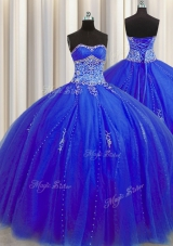 Puffy Skirt Royal Blue Ball Gowns Beading and Appliques Sweet 16 Quinceanera Dress Lace Up Tulle Sleeveless Floor Length