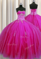 Really Puffy Floor Length Ball Gowns Sleeveless Fuchsia Quinceanera Gowns Lace Up
