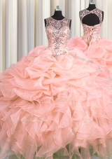 Sweet Scoop See Through Sleeveless Beading and Ruffles and Pick Ups Lace Up Ball Gown Prom Dress