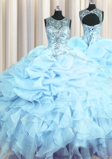 Vintage See Through Scoop Sleeveless Lace Up Quince Ball Gowns Light Blue Organza