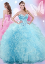 Baby Blue Lace Up Quinceanera Dress Beading and Ruffles Sleeveless Floor Length