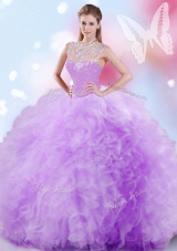 Custom Design High-neck Sleeveless Ball Gown Prom Dress Floor Length Beading and Ruffles and Sequins Lavender Tulle