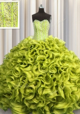 Customized Visible Boning Olive Green Ball Gowns Beading and Ruffles Vestidos de Quinceanera Lace Up Organza Sleeveless Floor Length