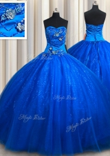 Great Royal Blue Sleeveless Tulle Lace Up Sweet 16 Dresses for Military Ball and Sweet 16 and Quinceanera