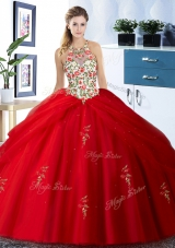 Red Ball Gowns Halter Top Sleeveless Tulle Floor Length Lace Up Embroidery and Pick Ups Quince Ball Gowns