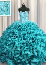 Visible Boning Beading and Ruffles Quinceanera Gowns Aqua Blue Lace Up Sleeveless Floor Length