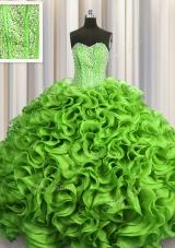 Visible Boning Beading and Ruffles Sweet 16 Dresses Lace Up Sleeveless Floor Length