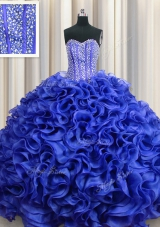 Visible Boning Floor Length Ball Gowns Sleeveless Royal Blue Quince Ball Gowns Lace Up