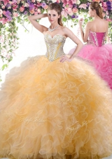 Best Selling Gold Lace Up Sweetheart Beading and Ruffles Quinceanera Gown Tulle Sleeveless
