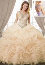 Custom Designed Scoop Champagne Organza Lace Up Sweet 16 Dresses Sleeveless Floor Length Beading and Ruffles and Pick Ups