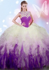 Elegant Tulle High-neck Sleeveless Zipper Beading and Ruffles 15th Birthday Dress in White And Purple