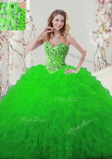 Embroidery and Ruffles Quinceanera Dresses Lace Up Sleeveless Floor Length