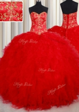 Graceful Red Lace Up 15th Birthday Dress Beading and Embroidery Sleeveless Floor Length