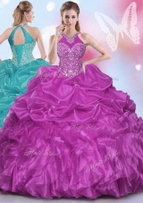 Most Popular Halter Top Sleeveless Floor Length Appliques and Pick Ups Lace Up Sweet 16 Dress with Fuchsia