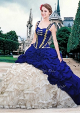 Nice Blue And White Lace Up Straps Beading and Ruffles and Pick Ups Quince Ball Gowns Organza and Taffeta Sleeveless Brush Train
