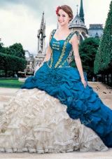 Pick Ups Straps Sleeveless Brush Train Lace Up Quinceanera Dress Blue And White Organza and Taffeta