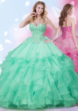 Pretty Sleeveless Floor Length Beading and Ruffles Lace Up Quinceanera Gowns with Apple Green