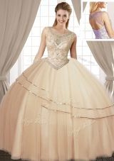 Scoop Sleeveless Beading Lace Up Quinceanera Dress