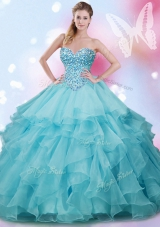 Shining Organza Sweetheart Sleeveless Lace Up Beading and Ruffles 15 Quinceanera Dress in Aqua Blue