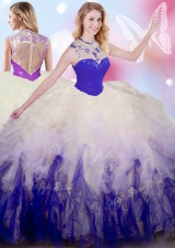 Sleeveless Tulle Floor Length Zipper Ball Gown Prom Dress in White And Purple for with Beading and Ruffles