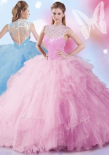 Suitable Sleeveless Tulle Floor Length Zipper 15 Quinceanera Dress in Baby Pink for with Beading and Ruffles and Sequins
