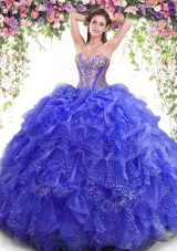 Superior Blue Sleeveless Floor Length Beading and Ruffles Lace Up Sweet 16 Dresses