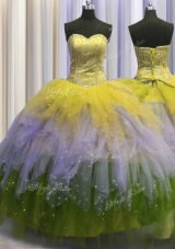 Visible Boning Tulle Sleeveless Floor Length Vestidos de Quinceanera and Beading and Ruffles and Sequins