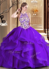 Amazing Scoop Ball Gowns Sleeveless Purple Sweet 16 Dress Brush Train Lace Up