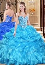 Aqua Blue Lace Up Sweetheart Lace and Appliques Quinceanera Dresses Organza Sleeveless