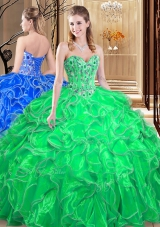 Beauteous Ball Gowns Ball Gown Prom Dress Green Sweetheart Organza Sleeveless Floor Length Lace Up