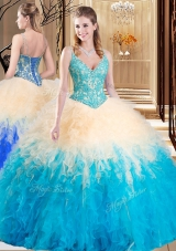 Beauteous Multi-color Lace Up V-neck Lace and Ruffles Quinceanera Gown Tulle Sleeveless
