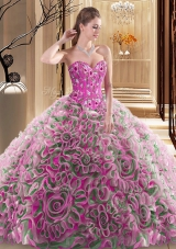 Multi-color Ball Gowns Embroidery and Ruffles Vestidos de Quinceanera Lace Up Fabric With Rolling Flowers Sleeveless With Train