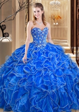 Sleeveless Organza Floor Length Lace Up Quinceanera Dresses in Royal Blue for with Embroidery and Ruffles