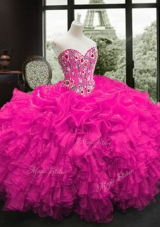Custom Designed Floor Length Ball Gowns Sleeveless Fuchsia Quinceanera Gowns Lace Up