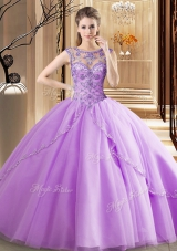 Suitable Scoop Sleeveless Vestidos de Quinceanera Brush Train Beading Lavender Tulle