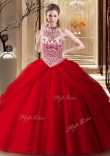 Glittering Tulle Halter Top Sleeveless Brush Train Lace Up Beading and Pick Ups Quinceanera Dresses in Red